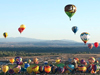 Hot-air balloons of every design and color head skyward during a mass ascension at the 2008 Albuquerque Balloon Fiesta.