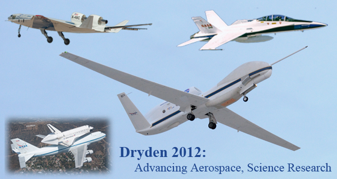 Dryden 2012 - Advancing Aerospace, Science Research - Collage of aircraft flown at Dryden in 2012 including Global Hawk, DROID, F-18 and X-48C