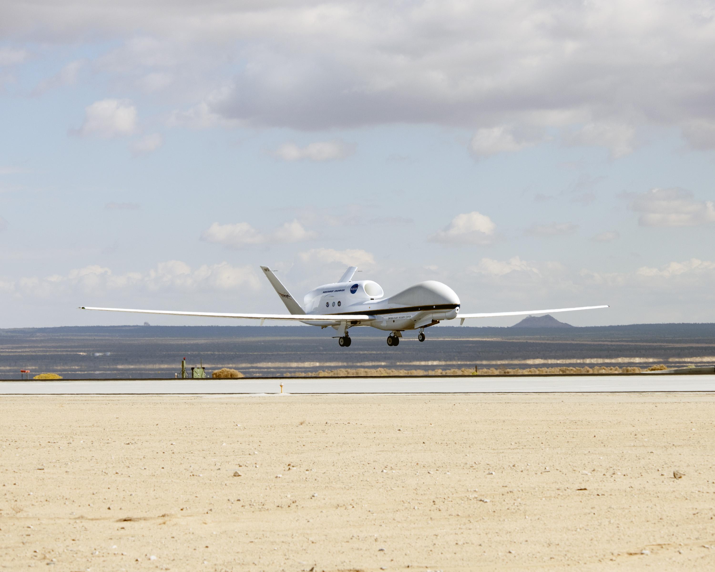 NASA Global Hawk No  872 flares for landing at Edwards Air Force Base    Nasa Global Hawk