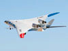 The NASA-Boeing X-48C Hybrid/Blended Wing Body research aircraft banks left during one of its final test flights over Edwards Air Force Base from NASA's Dryden Flight Research Center on Feb. 28, 2013.