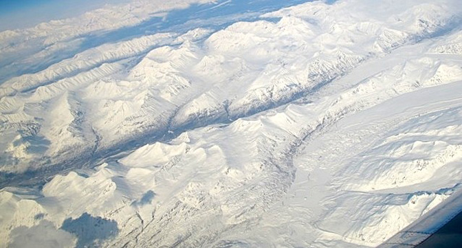 Glaciers like the one in the Wrangell mountains visible in the lower right of the photo above were one of the targets of the GLISTIN-A radar imaging mission flown by NASA's C-20A over Alaska April 24-27.