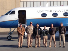 The NASA Dryden flight crew that supported the C-20A deployment to Alaska included (from left) mechanic Gary Carlson, C-20A project manager John McGrath, avionics technician Carlos Meza, operations engineer Brittany Martin, and pilots Dean Neeley and Tim Williams.