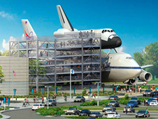 Artist's concept depicting the space shuttle mockup and Shuttle Carrier Aircraft exhibit at the Space Center Houston.
