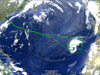 The flight path of a NASA Global Hawk is depicted in this graphic image as it headed back to NASA's Wallops Flight Facility on Sunday, Sept. 23, 2012 after collecting atmospheric data over tropical storm Nadine in the Eastern Atlantic Ocean during the 2012 HS3 mission.