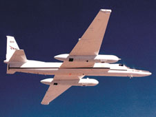 NASA's high-altitude ER-2 aircraft, in flight.