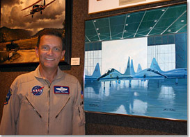 research pilot Mark Pestana and T-38s painting
