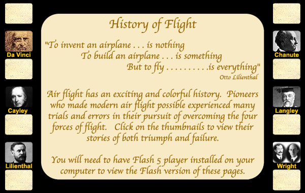 history of flight graphic with small pictures of early pioneers