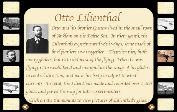 otto lilienthal graphic with small pictures of designs