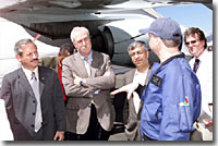 NASA and Costa Rican officials view AirSAR hardware on NASA's DC-8. L-R: Fernando Gutierrez, Costa Rica's Minister of Science and Technology; Sean O'Keefe, NASA Administrator; Dr. Gahssem Asrar, NASA Associate Administrator for Earth Science Enterprises; Bruce Chapman, JPL scientist.