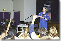 NASA astronaut Pamela Melroy answers student's questions at Edwards Middle School