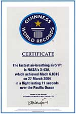 X-43A world record certification