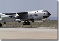 NASA's B-52B launch aircraft takes off carrying the second X-43A hypersonic research vehicle on March 27, 2004.