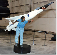 Laurie Marshall and X-43A model