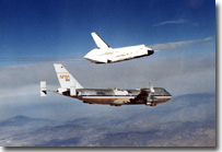 Shuttle prototype enterprise seperating from the 747