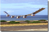Helios Prototype aircraft taking off from the Pacific Missile Range Facility in Kauai Hawaii for a record flight