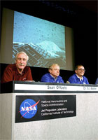photo: speakers at JPL upon successful landing on Mars