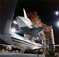photo: Shuttle being loaded by the Mate/Demate