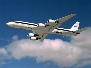 Photo of NASA's DC-8 aircraft in flight.