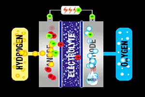 Diagram showing how a fuel cell works