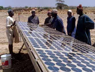 Image of a photovoltaic power system in the remote African village of Tangaye, Upper Volta, Africa.