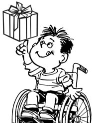 Graphic of boy in a wheelchair juggling a Christmas gift.