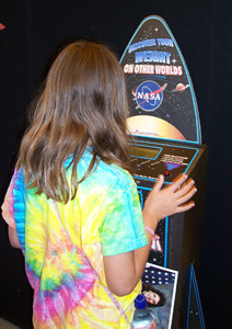 Photo of girl on solar system scale