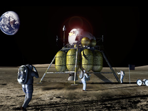 Lunar lander and astronauts on moon