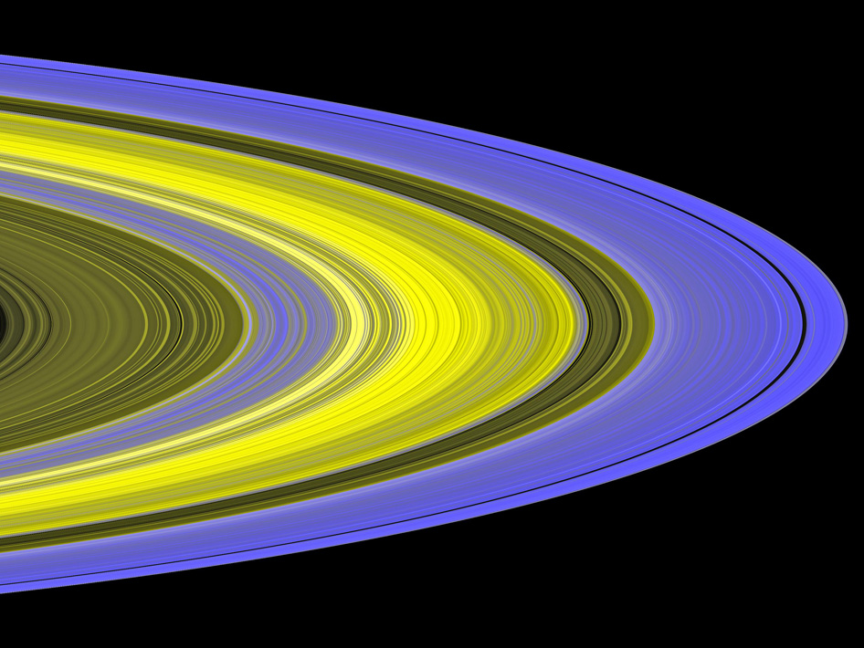 False-color image of Saturn's main rings