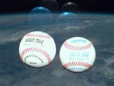World Series baseballs in space