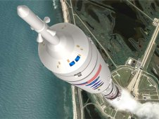 Artist's concept of the Ares I-X launch.