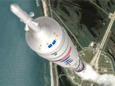 Artist concept of an Ares I-X launch