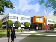 artist's rendering new office complex