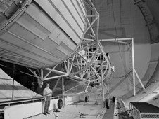 This 1963 image  shows a mockup of Atlas/Centaur undergoing retrorocket testing.