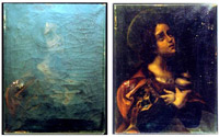 Before and after image of artwork cleaned by atomic oxygen.