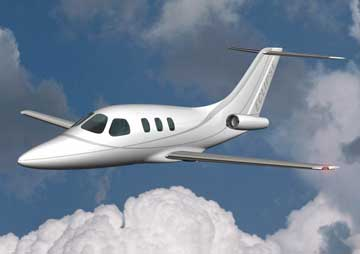 The Eclipse 500<SUP>TM</SUP>, a six-passenger jet made possible by revolutionary EJ22 turbofans, which are commercial derivatives of the GAP FJX­2 turbofan.