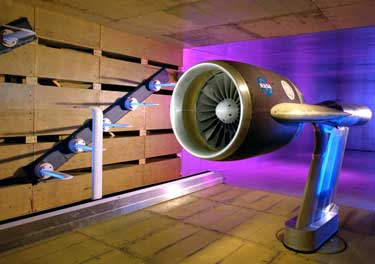 Photo of the 9- by 15-Foot Low-Speed Wind Tunnel which plays a major role in reducing jet engine noise.