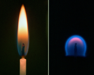 Image of A candle burning in Earth's gravity (left) and in microgravity.