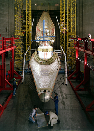 Image of the Titan/Centaur shroud jettison testing at Plum Brook's Space Power Facility.