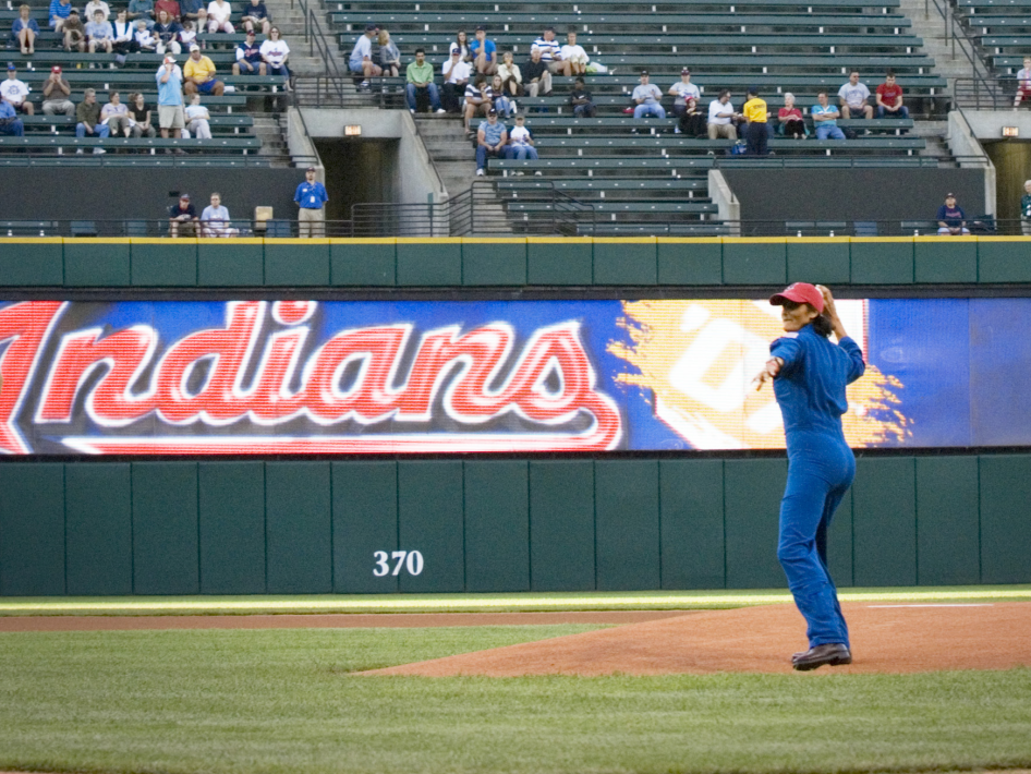 Astronaut Suni Williams throwing out a ceremonial first pitch in 2007.