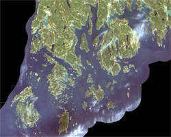 This Landsat ETM+ Satellite image of Acadia National Park was produced on Sept. 2, 2002.