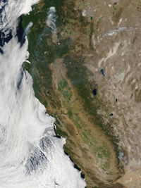 NASA's Terra satellite captured this large fire that sprang up in the Sequoia National Forest about 12 miles north of the town of Kernville.
