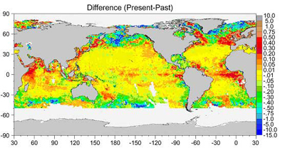 This map shows the difference in the amounts of ocean chlorophyll between the 1980s and 1990s.
