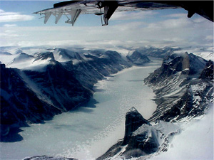 This image from the NASA P-3 research aircraft was taken after surveying the Barnes ice cap on Baffin Island.