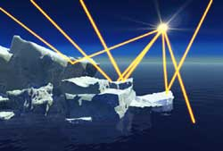 Image of clean ice being hit by the sun's rays.