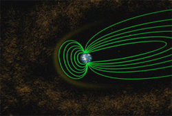 Still from the animation that depicts how Earth's magnetosphere is stretched from a simple, symmetrical dipole field into a windsock