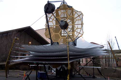 Photo of the full scale James Webb space telescope model at Northrop Grumman.