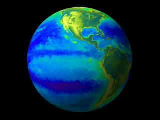 Still from animation which shows the El Nino and La Nina around the globe.