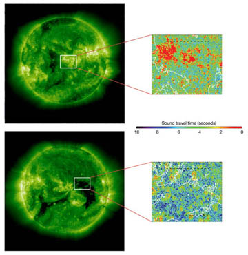 solar wind speed over different areas on the sun