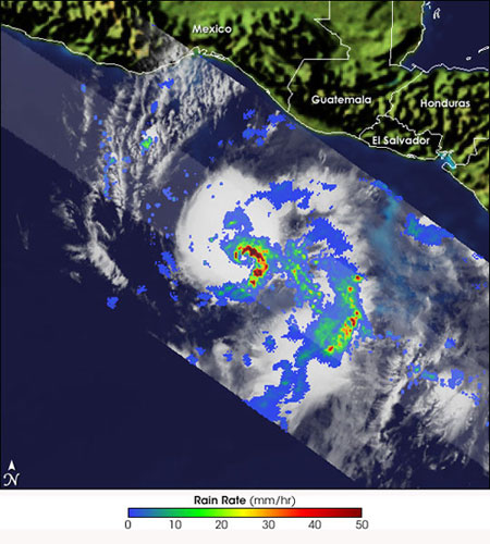 Image of Tropical Storm Adrian as seen by the TRMM satellite.