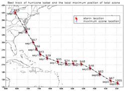 This image shows the locations of both Hurricane Isabel